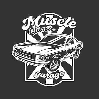Muscle classic car emblem in black and b&w color scheme
