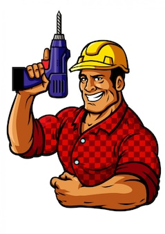 Muscle construction worker hold the drill