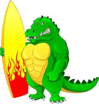 Muscle crocodiles holding surfing board