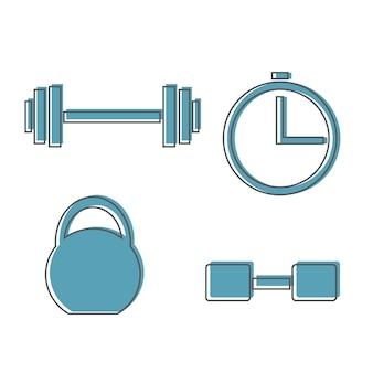 근육 리프팅 아이콘 세트, 피트니스 바벨, 체육관 아이콘, 절연 운동 아령, 벡터 역도 기호