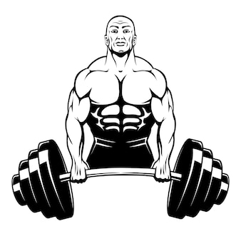 Bodybuilder di uomo muscolare che tiene un grande bilanciere con grandi pesi