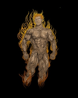 Muscle man on fire in ornament  color hand drawing