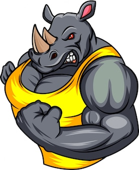 Muscle rhino cartoon