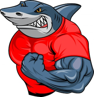 Muscle shark cartoon