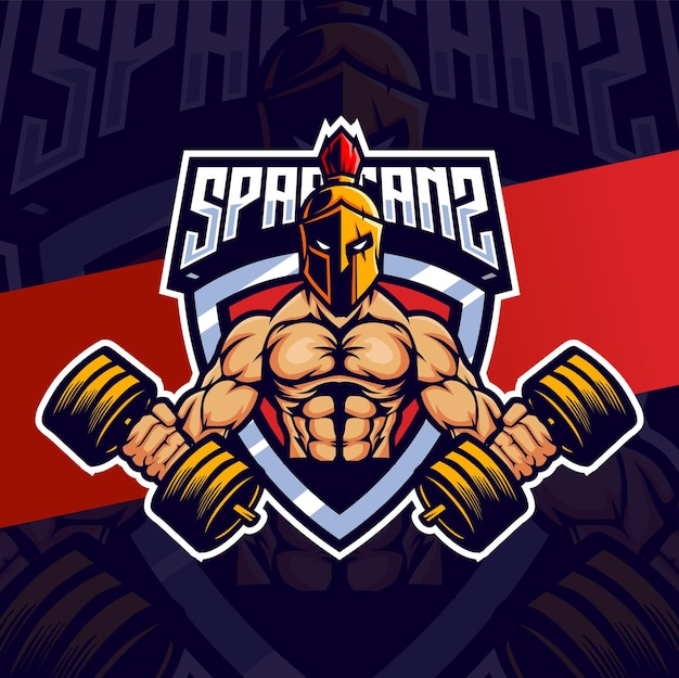 Muscle spartan mascot esport for fitness and sport logo design