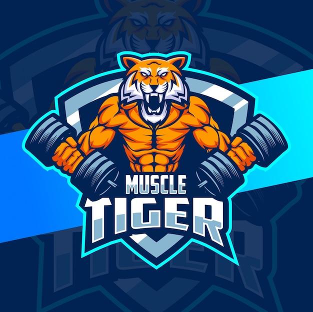 Мышца тигр фитнес талисман дизайн логотипа