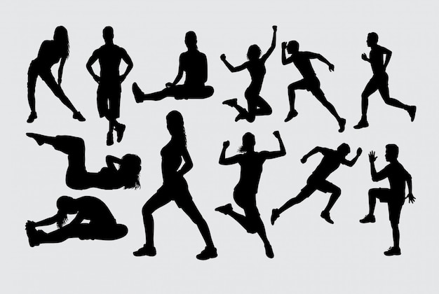 Muscle training sport silhouette