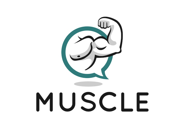 Дизайн логотипа muscle для фитнес-форума или блога
