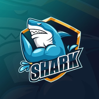 筋肉質のサメeスポーツゲーミングマスコットロゴ