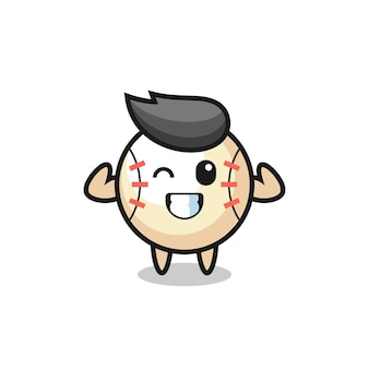 The muscular baseball character is posing showing his muscles , cute style design for t shirt, sticker, logo element