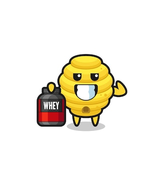 The muscular bee hive character is holding a protein supplement , cute design