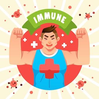 筋肉の大きな男性は、ウイルスや細菌のイラストと戦うための体の免疫力について説明します