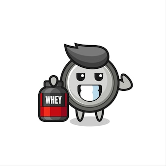 The muscular button cell character is holding a protein supplement , cute style design for t shirt, sticker, logo element
