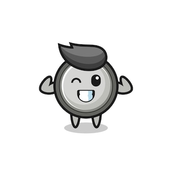 The muscular button cell character is posing showing his muscles , cute style design for t shirt, sticker, logo element