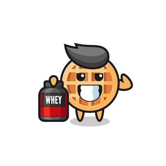 The muscular circle waffle character is holding a protein supplement , cute design