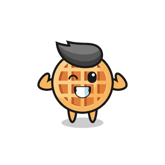 The muscular circle waffle character is posing showing his muscles , cute design
