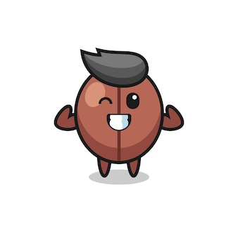 The muscular coffee bean character is posing showing his muscles , cute style design for t shirt, sticker, logo element