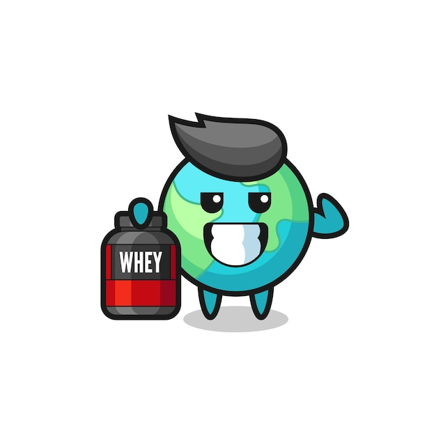 The muscular earth character is holding a protein supplement , cute style design for t shirt, sticker, logo element