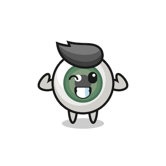 The muscular eyeball character is posing showing his muscles , cute style design for t shirt, sticker, logo element