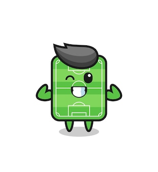 The muscular football field character is posing showing his muscles , cute style design for t shirt, sticker, logo element