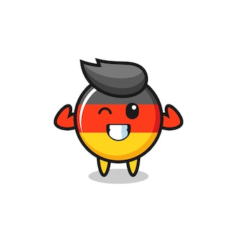 The muscular germany flag badge character is posing showing his muscles , cute style design for t shirt, sticker, logo element