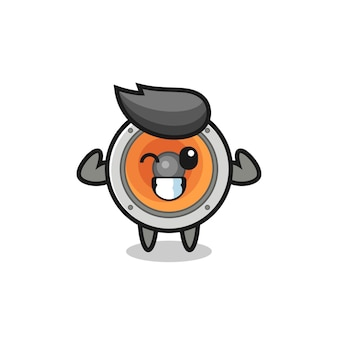 The muscular loudspeaker character is posing showing his muscles , cute style design for t shirt, sticker, logo element