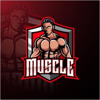 筋肉男のマスコットのロゴ