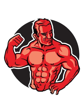 근육 질 남자 포즈 판지 로고