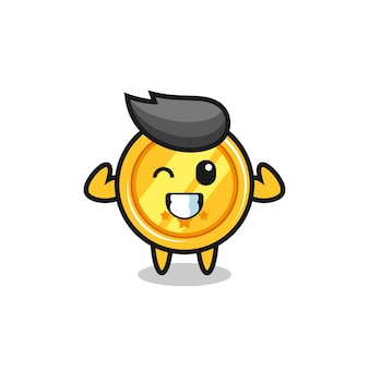 The muscular medal character is posing showing his muscles , cute style design for t shirt, sticker, logo element