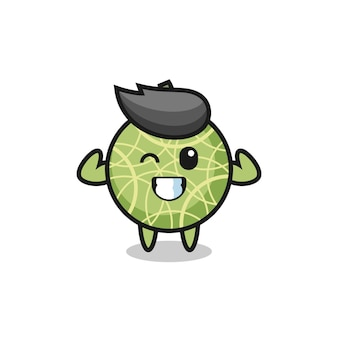 The muscular melon fruit character is posing showing his muscles , cute style design for t shirt, sticker, logo element