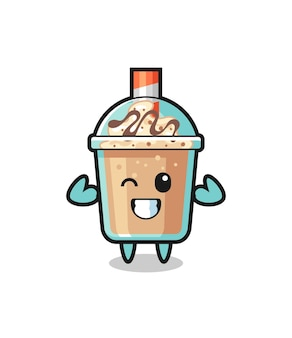 The muscular milkshake character is posing showing his muscles , cute style design for t shirt, sticker, logo element