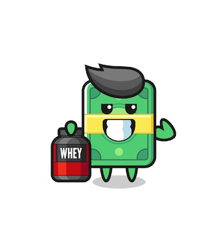 The muscular money character is holding a protein supplement , cute style design for t shirt, sticker, logo element