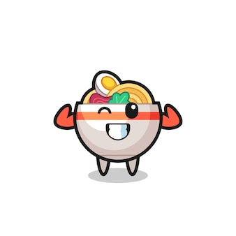 The muscular noodle bowl character is posing showing his muscles , cute style design for t shirt, sticker, logo element