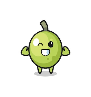 The muscular olive character is posing showing his muscles , cute style design for t shirt, sticker, logo element
