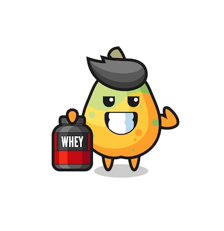 The muscular papaya character is holding a protein supplement , cute style design for t shirt, sticker, logo element
