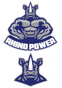 Muscular rhino mascot show his athletic body