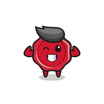 The muscular sealing wax character is posing showing his muscles , cute style design for t shirt, sticker, logo element