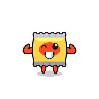 The muscular snack character is holding a protein supplement , cute style design for t shirt, sticker, logo element