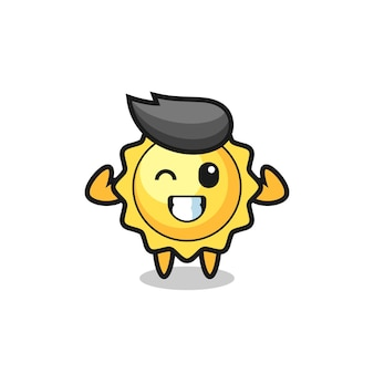 The muscular sun character is posing showing his muscles , cute style design for t shirt, sticker, logo element