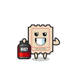 The muscular ticket character is holding a protein supplement , cute style design for t shirt, sticker, logo element