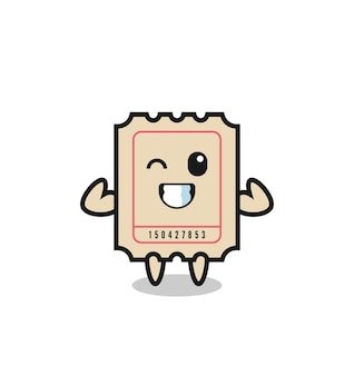 The muscular ticket character is posing showing his muscles , cute style design for t shirt, sticker, logo element