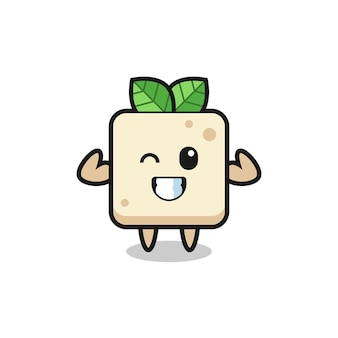 The muscular tofu character is posing showing his muscles , cute style design for t shirt, sticker, logo element
