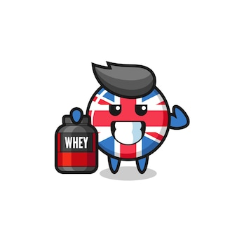 The muscular united kingdom flag badge character is holding a protein supplement , cute style design for t shirt, sticker, logo element