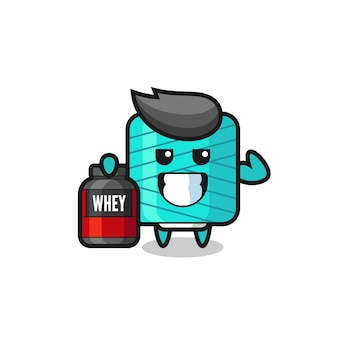 The muscular yarn spool character is holding a protein supplement , cute style design for t shirt, sticker, logo element