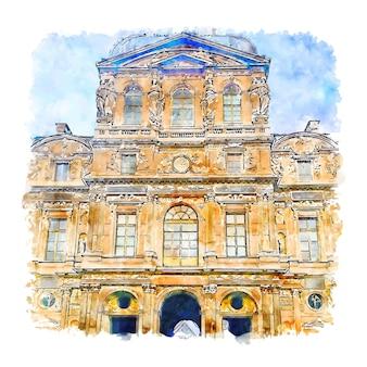 ルーブル美術館パリフランス水彩スケッチ手描きイラスト