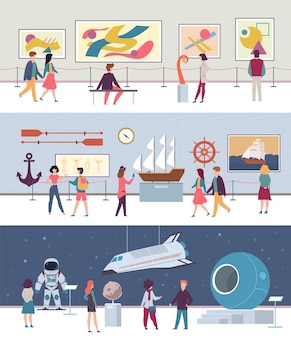 박물관 및 미술관 세트 예술 문화 그림 전시 문화 사람들과 과학