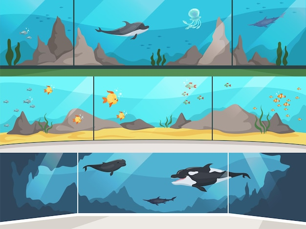 Museum aquarium. underwater zoo children with parents watching big fishes horizontal banner. illustration oceanarium and aquarium, underwater museum