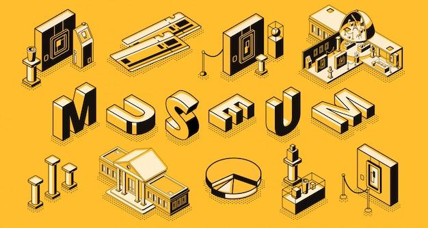 Concetto isometrico di vettore della galleria di arte o del museo con la costruzione di sezione trasversale del museo