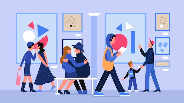 Museum art gallery with people illustration