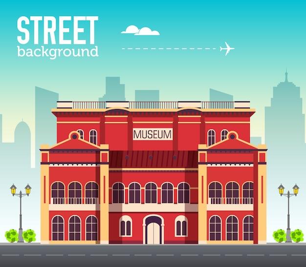 Здание музея в городском пространстве с дорогой на плоской концепции фона